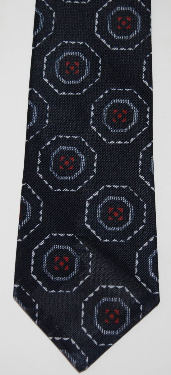 Armour Tie MADE IN TOKYO ネクタイ 紺 ネイビー 幾何学模様 レトロ アングラポップ_画像2