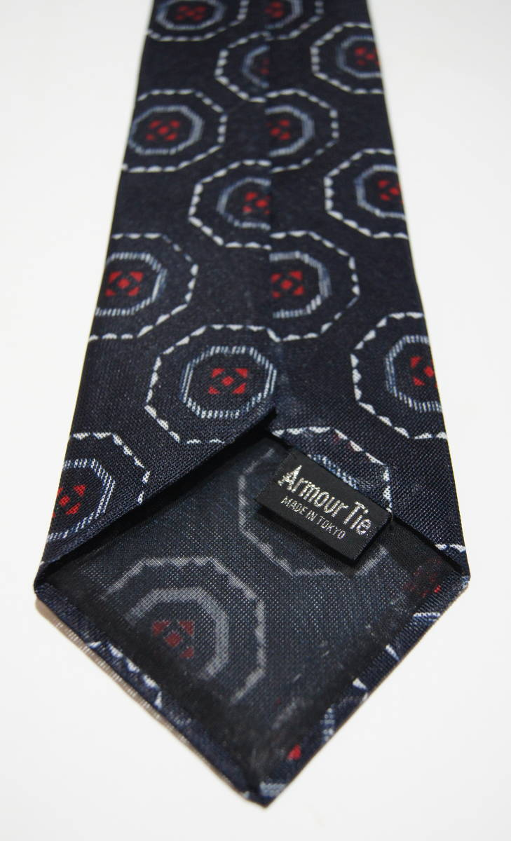 Armour Tie MADE IN TOKYO ネクタイ 紺 ネイビー 幾何学模様 レトロ アングラポップ_画像3