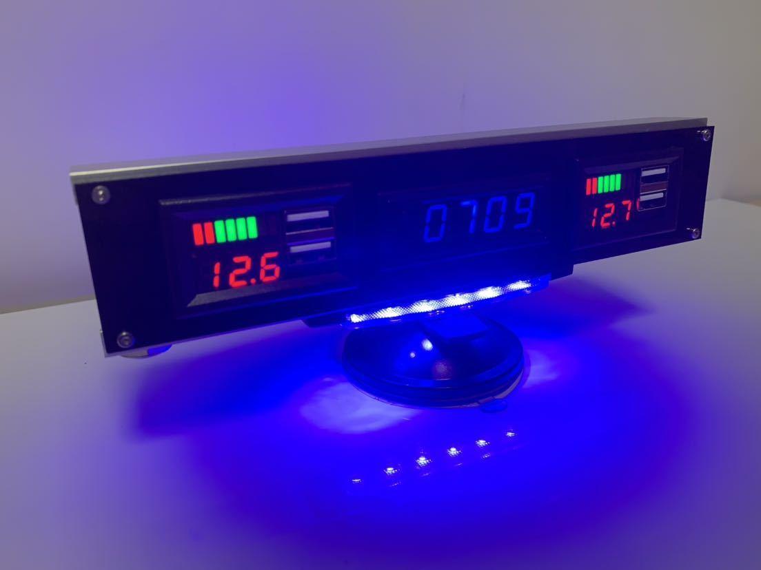 オプションパネルO1U2 スタンド式フルオプション 多機能電子時計×1 電圧レベルインジケーター付USB充電×2_画像3