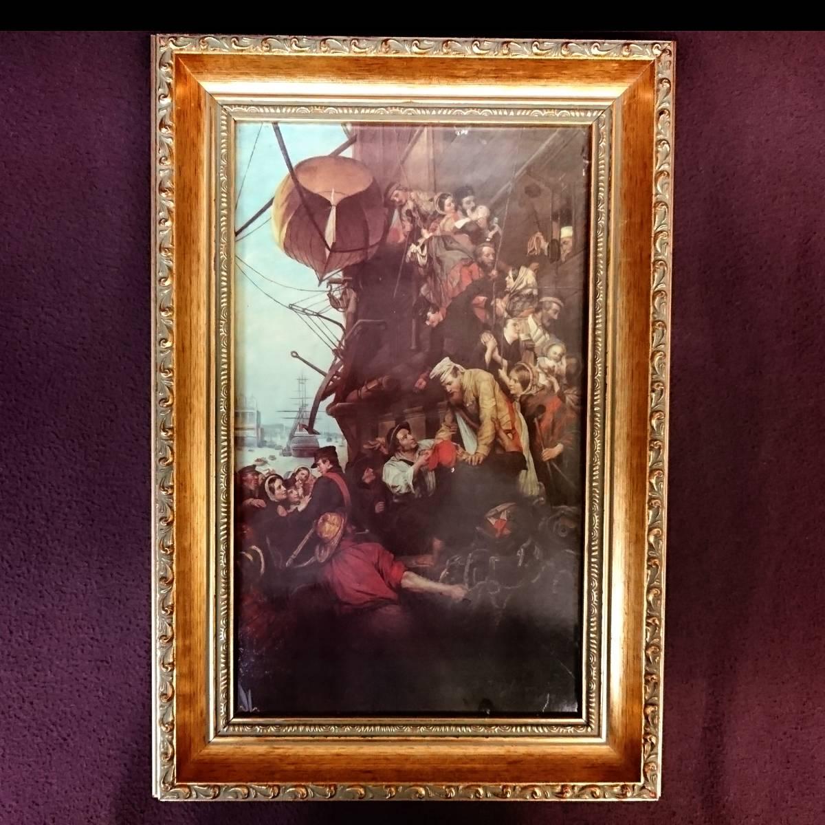 美麗 華麗 ロイヤルヴィエナ 額装 陶版画 大パネル 40㎝ 船港湾 美麗 額装 大型船出航図