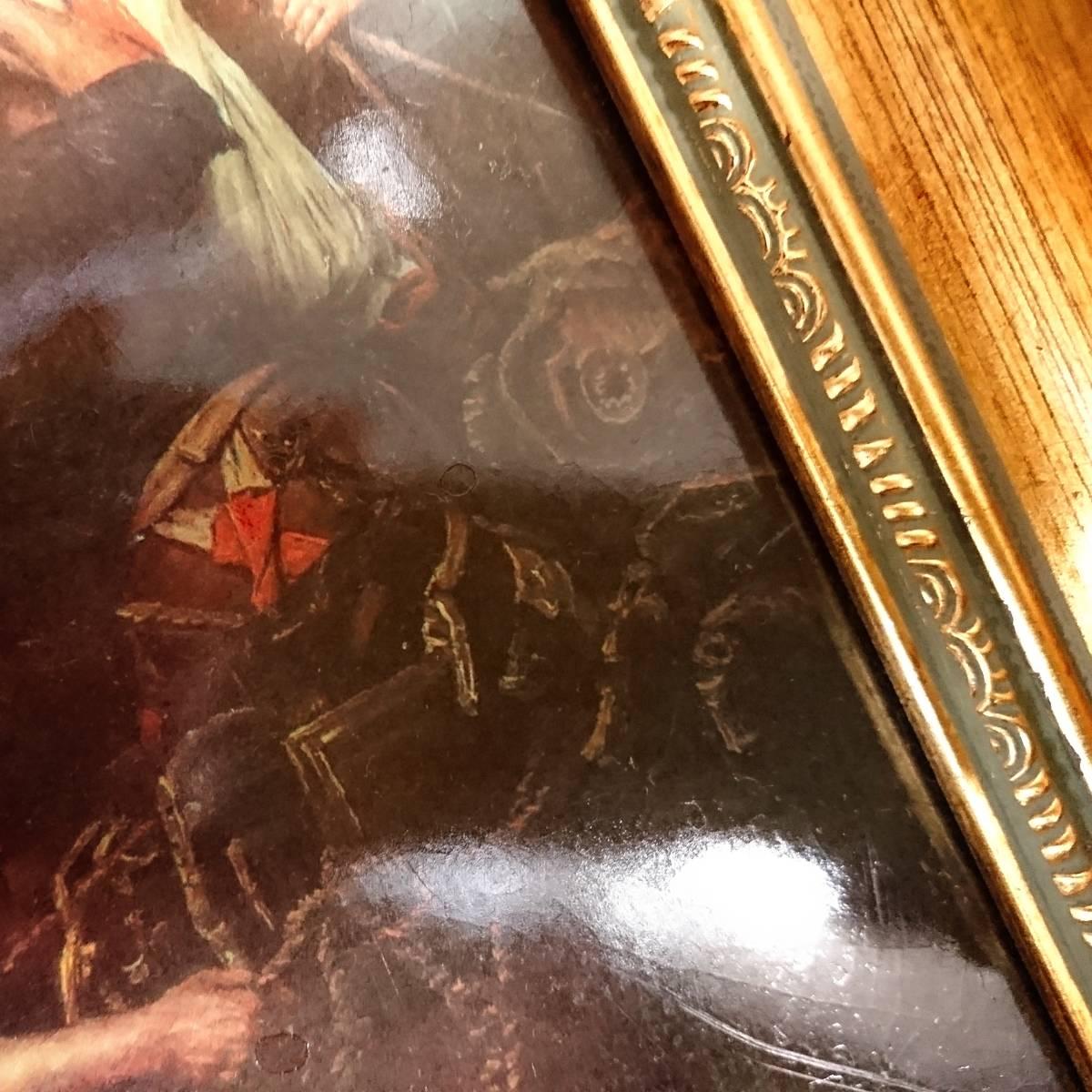 美麗 華麗 ロイヤルヴィエナ 額装 陶版画 大パネル 40㎝ 船港湾 美麗 額装 大型船出航図_画像4