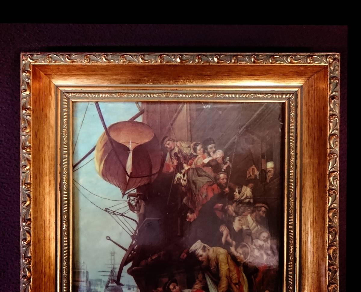 美麗 華麗 ロイヤルヴィエナ 額装 陶版画 大パネル 40㎝ 船港湾 美麗 額装 大型船出航図_画像2