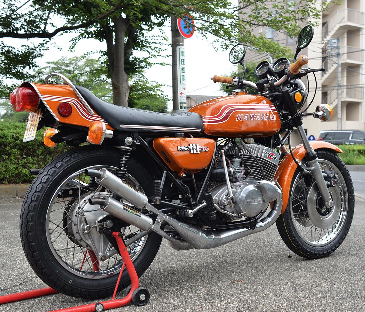 Kawasaki750SS H2 マッハⅢ 1972年型 初期型6000番台 キャンディゴールド 逆輸入 国内新規3年車検 マッハ KA SS S1 S2 H1 H2 KH 全国配送_画像3