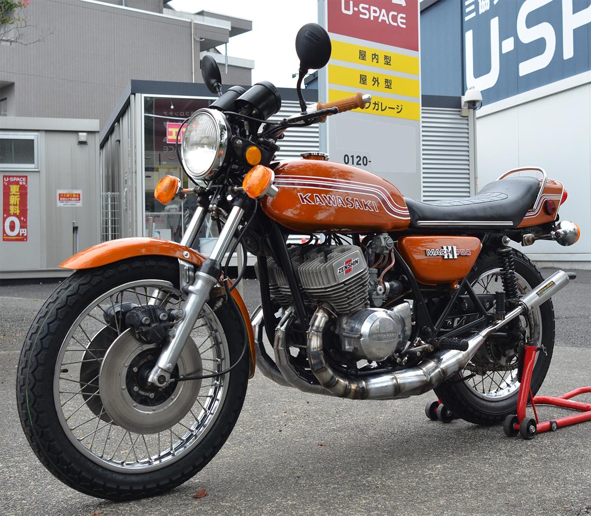 Kawasaki750SS H2 マッハⅢ 1972年型 初期型6000番台 キャンディゴールド 逆輸入 国内新規3年車検 マッハ KA SS S1 S2 H1 H2 KH 全国配送_画像2