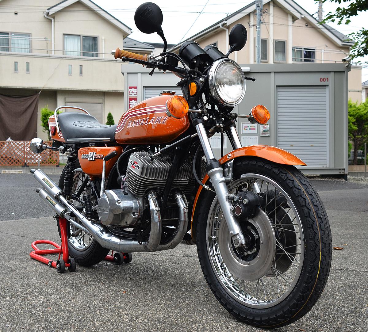 Kawasaki750SS H2 マッハⅢ 1972年型 初期型6000番台 キャンディゴールド 逆輸入 国内新規3年車検 マッハ KA SS S1 S2 H1 H2 KH 全国配送
