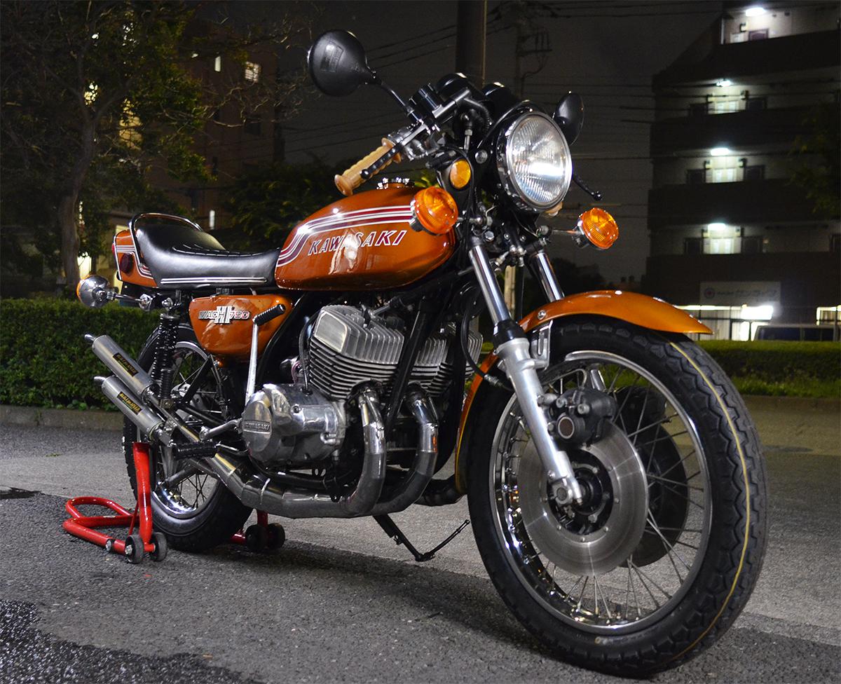 Kawasaki750SS H2 マッハⅢ 1972年型 初期型6000番台 キャンディゴールド 逆輸入 国内新規3年車検 マッハ KA SS S1 S2 H1 H2 KH 全国配送_画像9