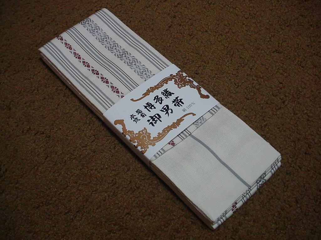 【特価!角帯 男帯 本場筑前 博多織 オフホワイト 絹100% 井上絹織 日本製】_画像2
