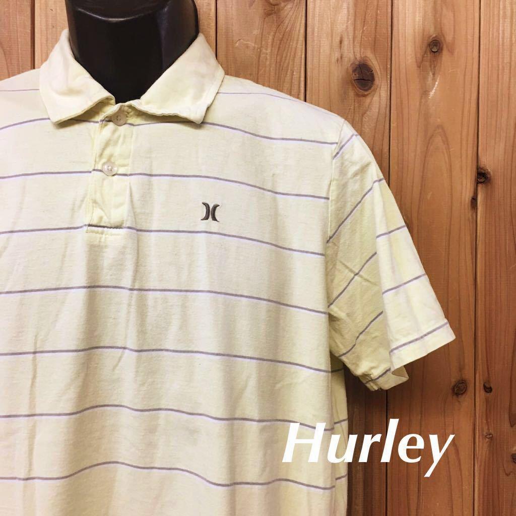 〈Hurley〉ハーレー◆メンズ size M / ロゴ刺繍 ボーダー 半袖 ポロシャツ コットンシャツ トップス カジュアル☆ // USA古着 USED_画像1