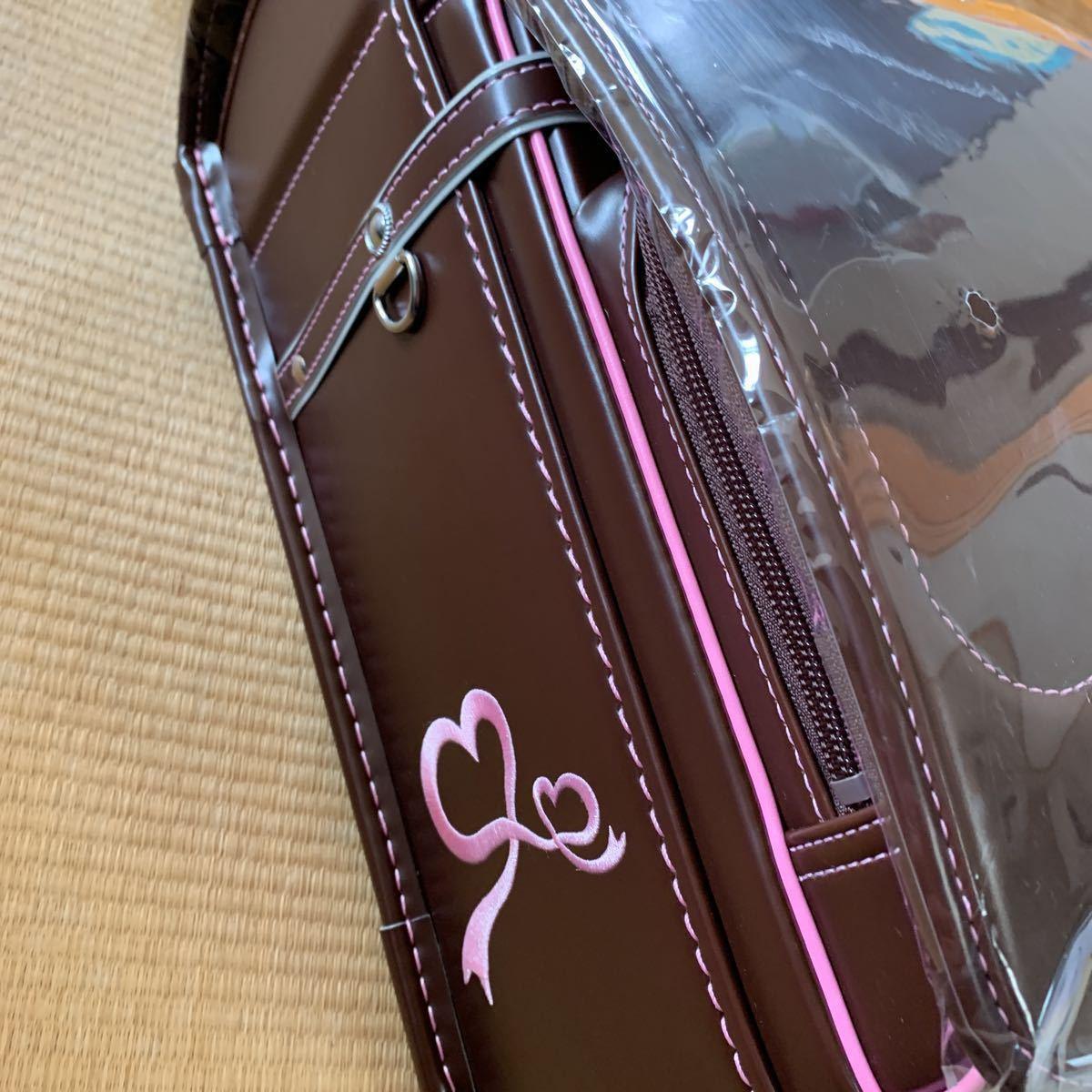 新品未使用 池田地球 ランドセル 型落ち ブラウン ピンク 刺繍 A4フラットファイル対応 日本製_画像2