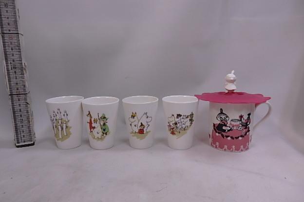 ムーミン シリコンカップカバー付き マグカップ リトルミイ +60周年記念 湯のみ 8個未使用品_画像1