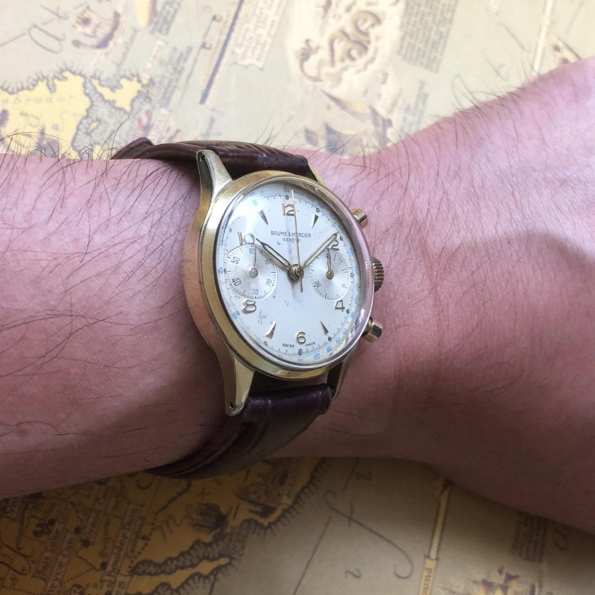 ★希少!! ボーム&メルシエ BAUME&MERCIER 1960s アンティーク Landeron149 メンズ 腕時計 クロノグラフ 手巻 白文字盤 ビンテージ 高級_画像8