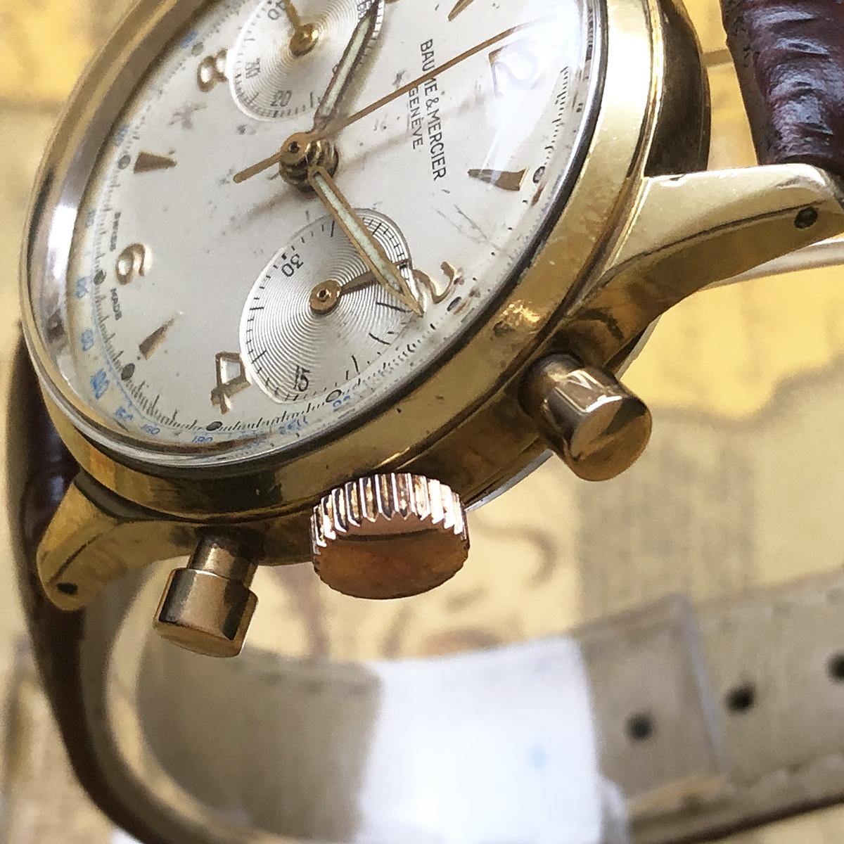 ★希少!! ボーム&メルシエ BAUME&MERCIER 1960s アンティーク Landeron149 メンズ 腕時計 クロノグラフ 手巻 白文字盤 ビンテージ 高級_画像5