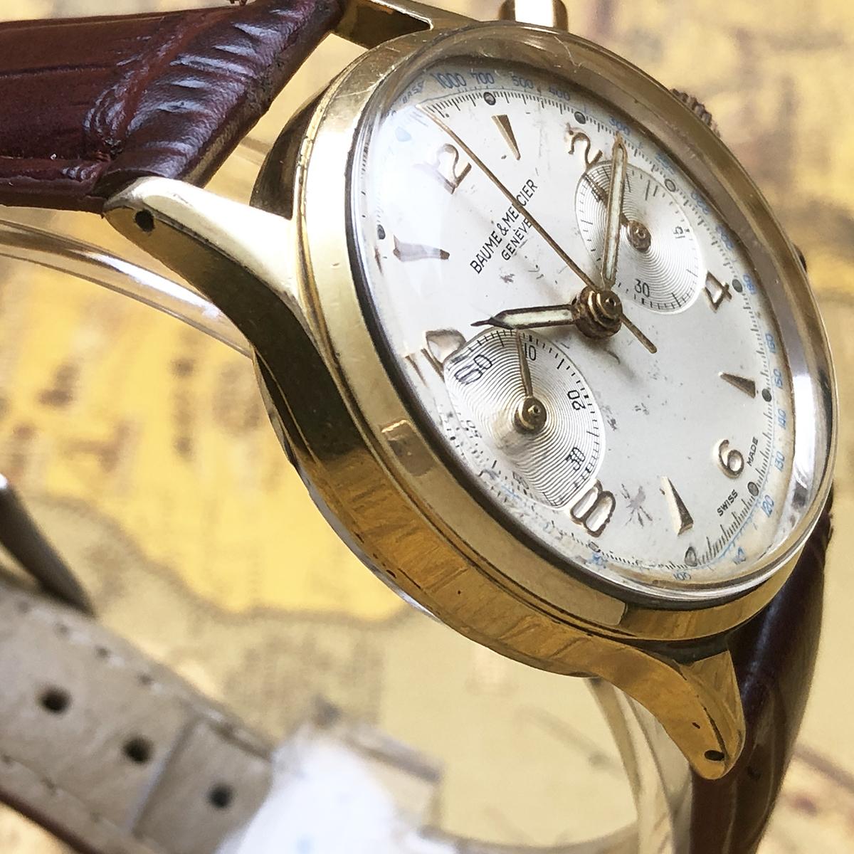 ★希少!! ボーム&メルシエ BAUME&MERCIER 1960s アンティーク Landeron149 メンズ 腕時計 クロノグラフ 手巻 白文字盤 ビンテージ 高級_画像6