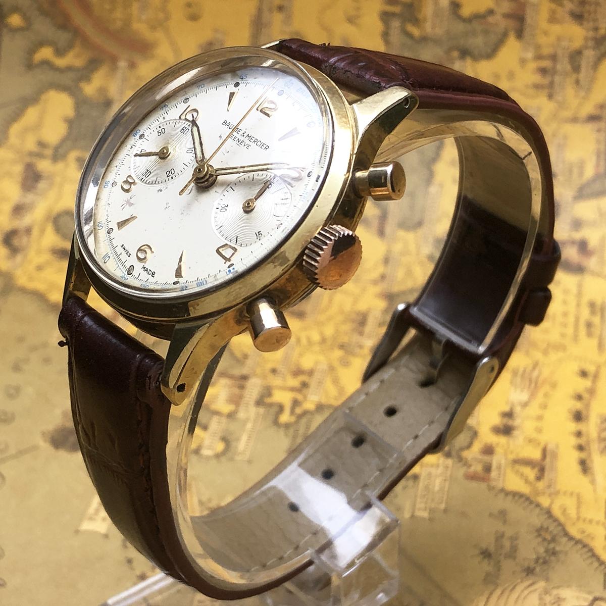 ★希少!! ボーム&メルシエ BAUME&MERCIER 1960s アンティーク Landeron149 メンズ 腕時計 クロノグラフ 手巻 白文字盤 ビンテージ 高級_画像3