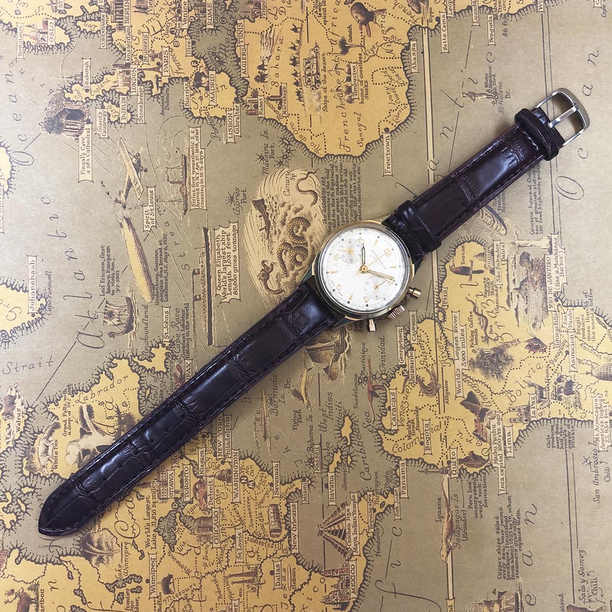 ★希少!! ボーム&メルシエ BAUME&MERCIER 1960s アンティーク Landeron149 メンズ 腕時計 クロノグラフ 手巻 白文字盤 ビンテージ 高級_画像7