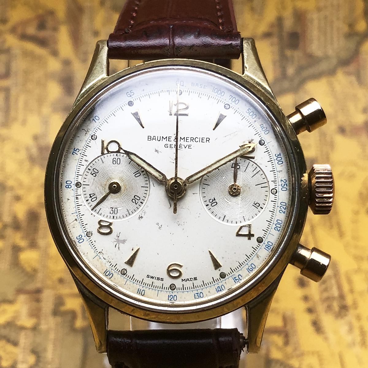 ★希少!! ボーム&メルシエ BAUME&MERCIER 1960s アンティーク Landeron149 メンズ 腕時計 クロノグラフ 手巻 白文字盤 ビンテージ 高級_画像2