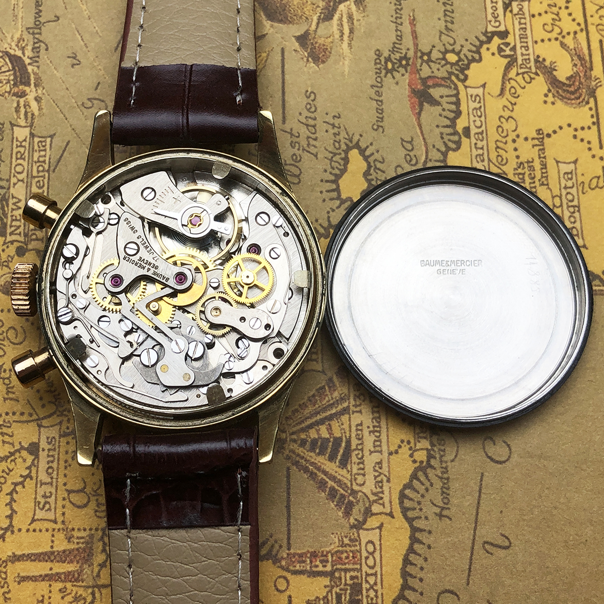 ★希少!! ボーム&メルシエ BAUME&MERCIER 1960s アンティーク Landeron149 メンズ 腕時計 クロノグラフ 手巻 白文字盤 ビンテージ 高級_画像10