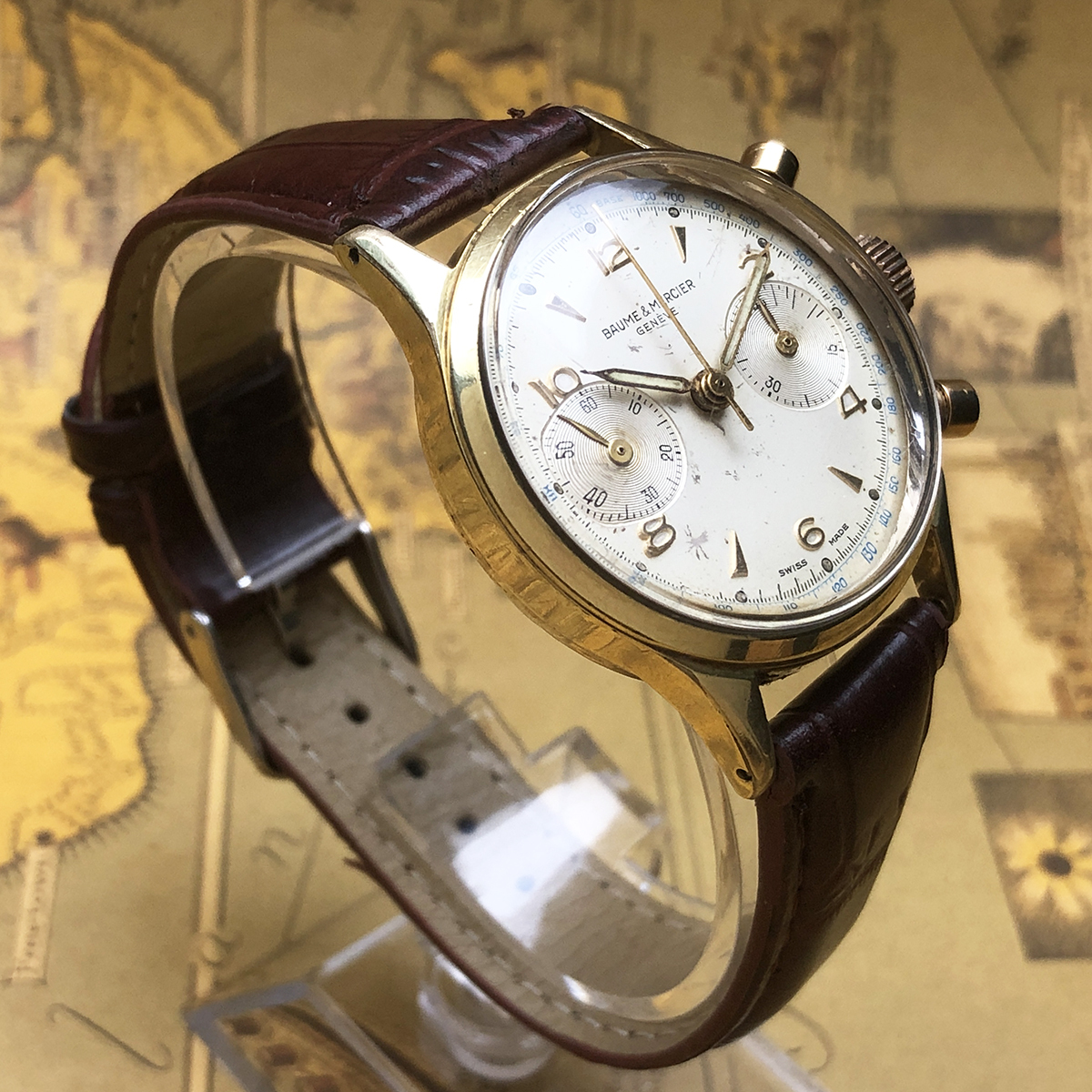 ★希少!! ボーム&メルシエ BAUME&MERCIER 1960s アンティーク Landeron149 メンズ 腕時計 クロノグラフ 手巻 白文字盤 ビンテージ 高級_画像4