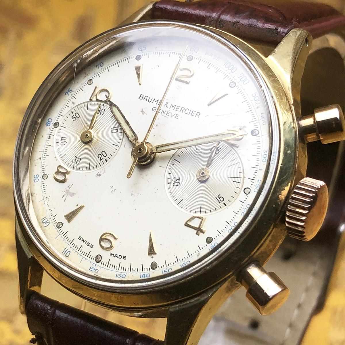 ★希少!! ボーム&メルシエ BAUME&MERCIER 1960s アンティーク Landeron149 メンズ 腕時計 クロノグラフ 手巻 白文字盤 ビンテージ 高級