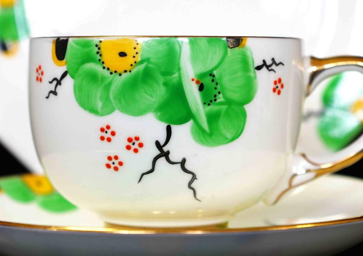 ★Freeway★c1914 パラゴン「アール・ヌーボーの緑の花」(F1997)_画像5