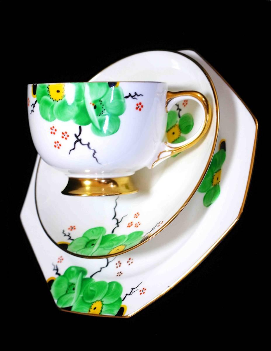 ★Freeway★c1914 パラゴン「アール・ヌーボーの緑の花」(F1997)_画像4