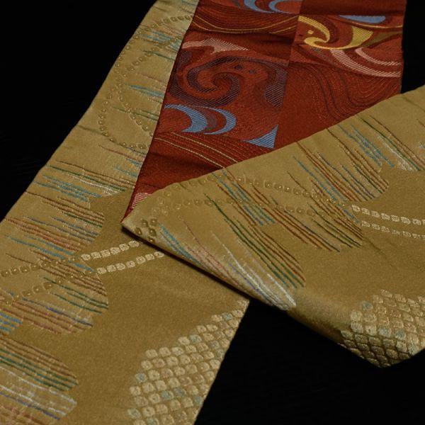 【着物のNext】 0954 両面 リバーシブル 市松 化繊 ポリ 洗える半巾帯 美品 赤系_画像3