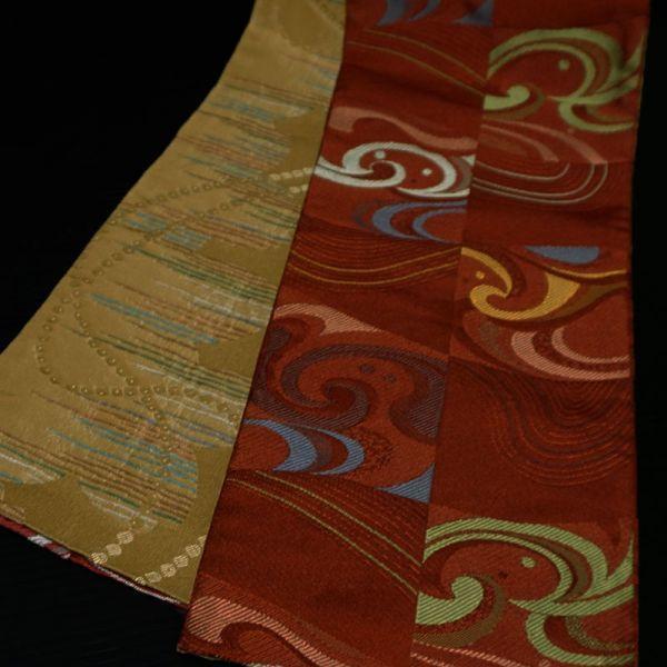 【着物のNext】 0954 両面 リバーシブル 市松 化繊 ポリ 洗える半巾帯 美品 赤系_画像2
