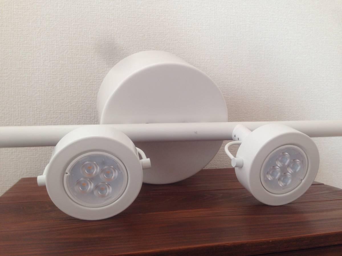 美品 IKEA IGGELBO イッゲルボー 4灯スポットライト LED電球付き ホワイト イケア 中古品_画像3