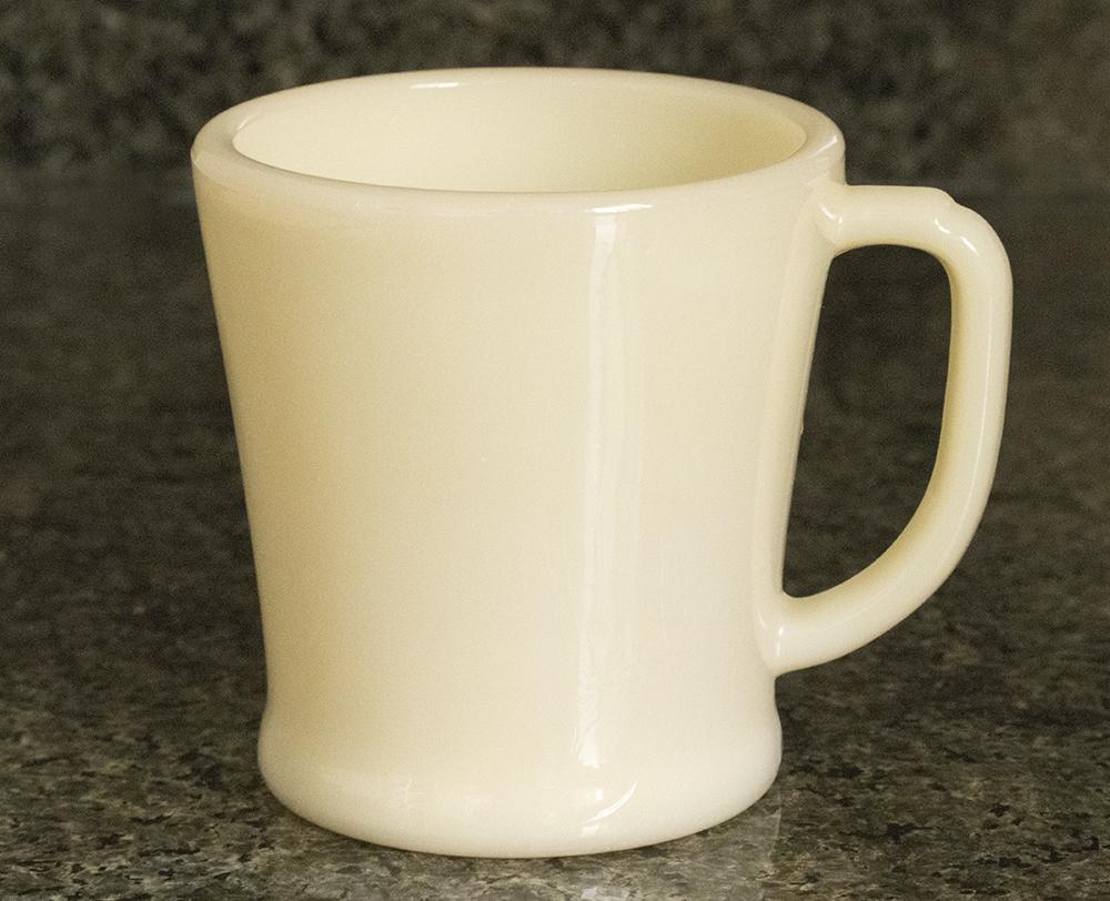 未使用! ファイヤーキング マグ アイボリー フラットボトム 1940年代 ミルクガラス コーヒー アメリカ製 ビンテージ アンティーク カップ