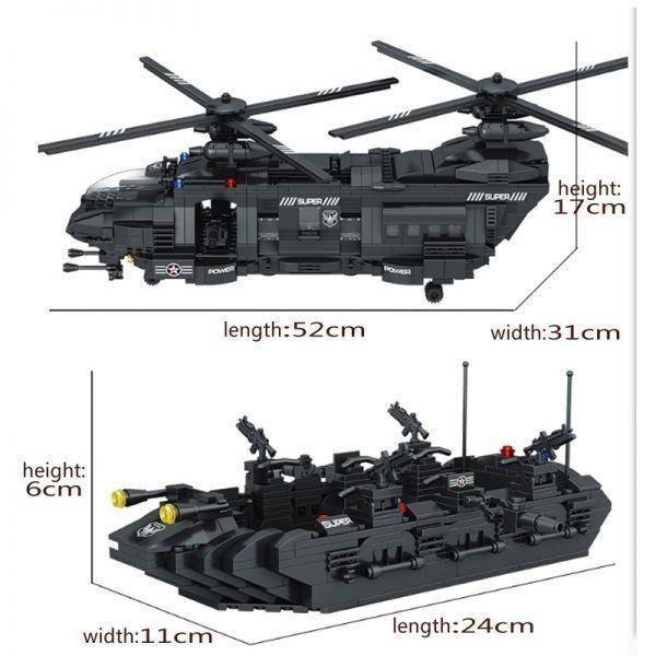 ★最安 安心の国内対応★LEGO レゴ 互換 SWAT 特殊部隊 全長52cm 大型 ヘリコプター + ボート ミニフィグ付き QL0108_画像6