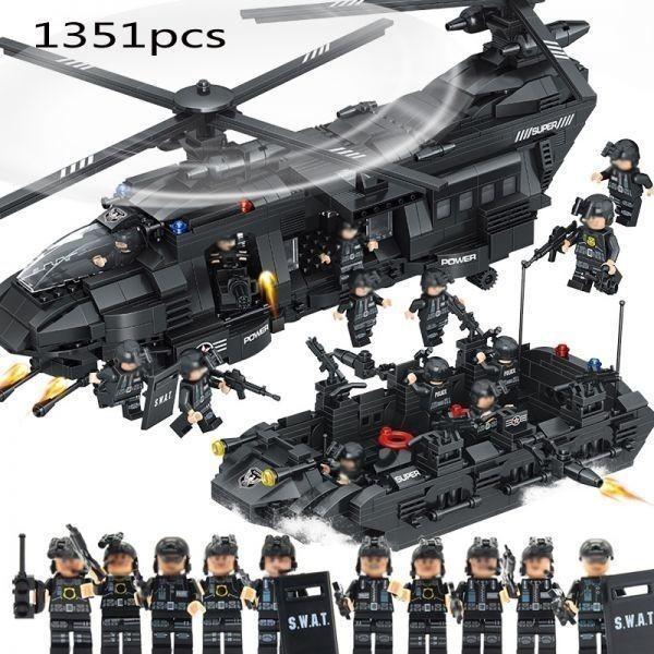 ★最安 安心の国内対応★LEGO レゴ 互換 SWAT 特殊部隊 全長52cm 大型 ヘリコプター + ボート ミニフィグ付き QL0108_画像1