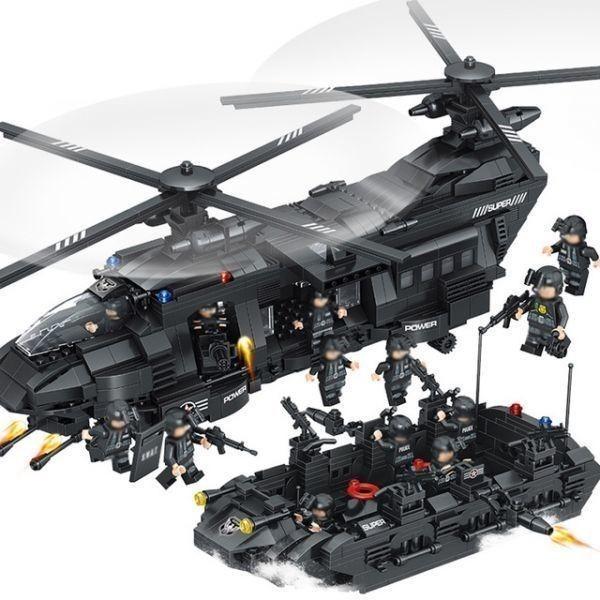★最安 安心の国内対応★LEGO レゴ 互換 SWAT 特殊部隊 全長52cm 大型 ヘリコプター + ボート ミニフィグ付き QL0108_画像4