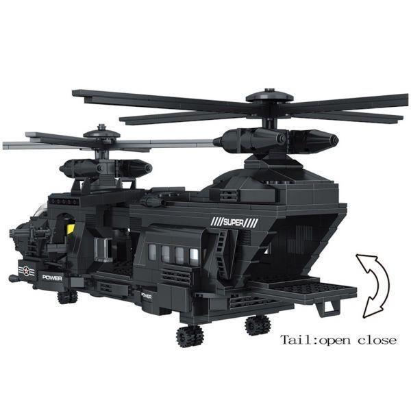 ★最安 安心の国内対応★LEGO レゴ 互換 SWAT 特殊部隊 全長52cm 大型 ヘリコプター + ボート ミニフィグ付き QL0108_画像5