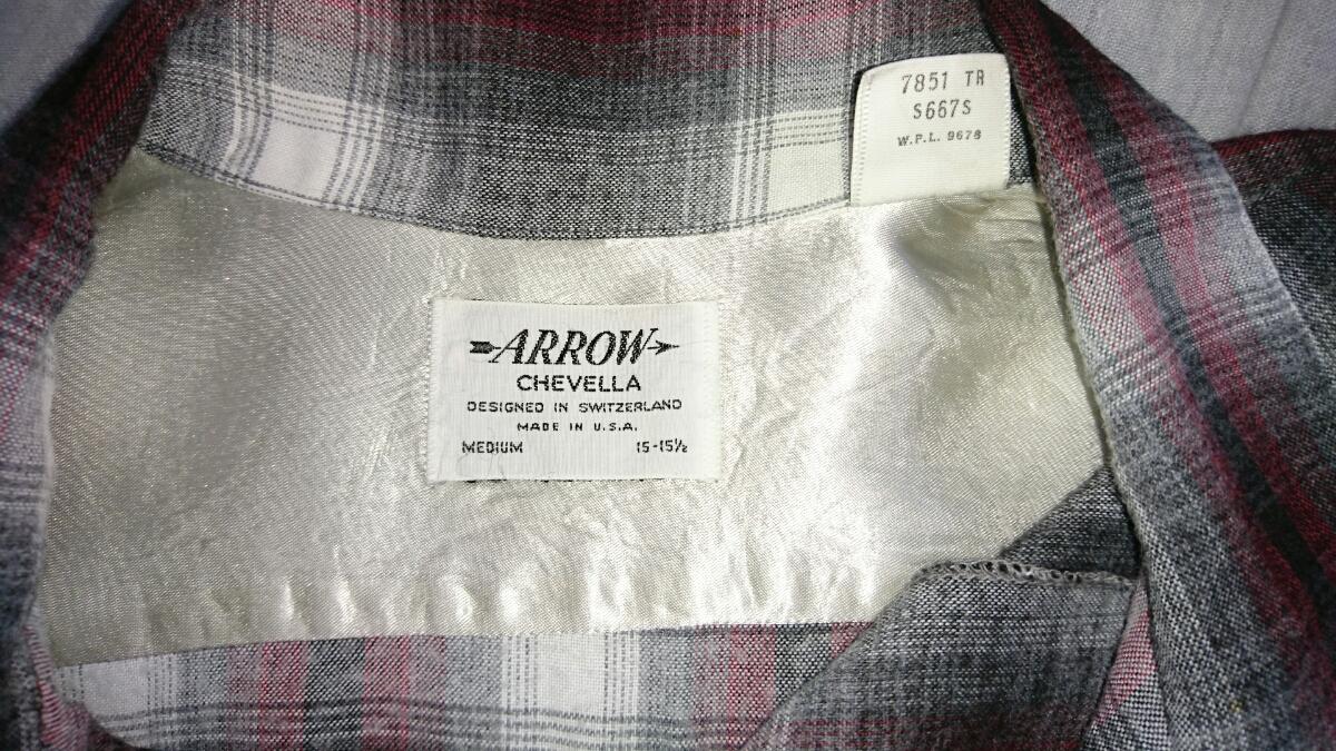ARROW 60s レーヨン オンブレ シャドーチェック ビンテージ M 黒×ワインレッド タウンクラウト カートコバーン USA製 50s _画像8