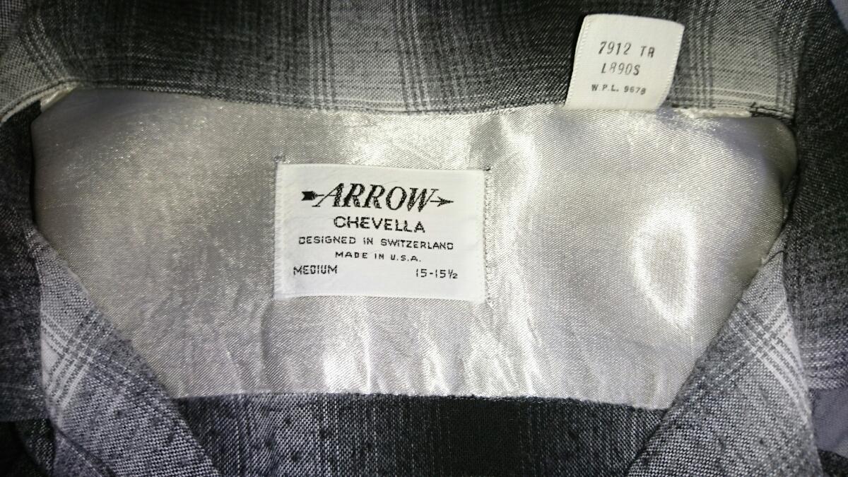 ARROW 60s ビンテージ レーヨン オンブレチェック シャドーチェック M USA製 黒×白 カートコバーン タウンクラウト オープンカラー _画像3