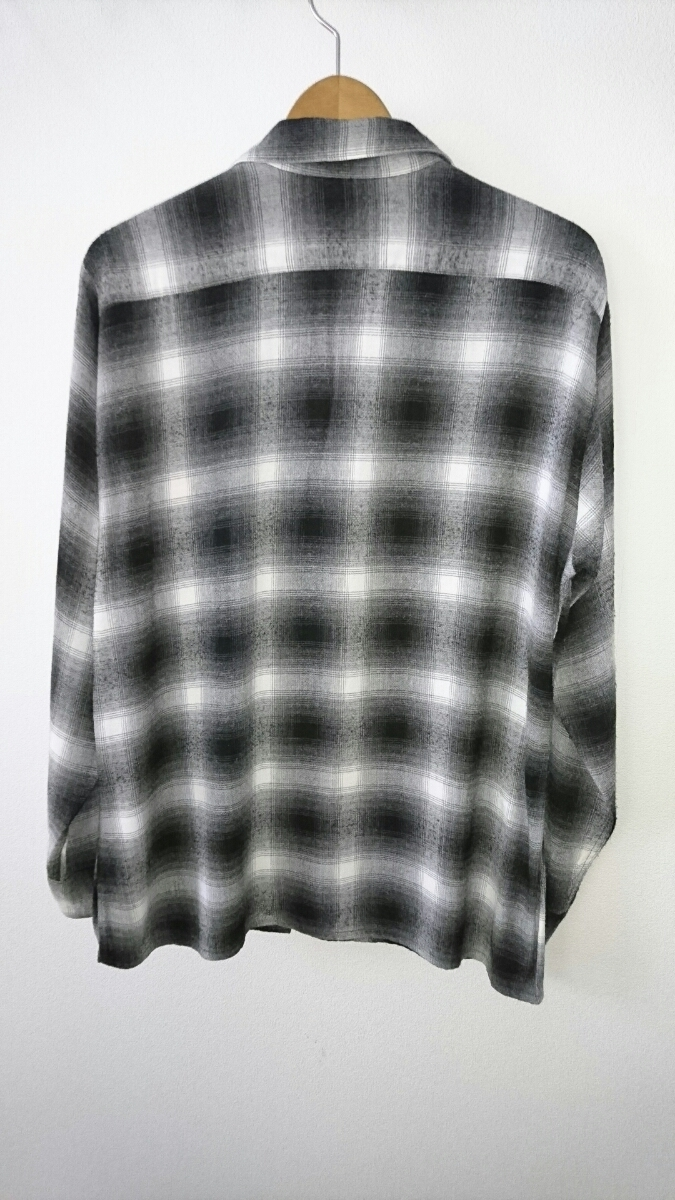 ARROW 60s ビンテージ レーヨン オンブレチェック シャドーチェック M USA製 黒×白 カートコバーン タウンクラウト オープンカラー _画像2