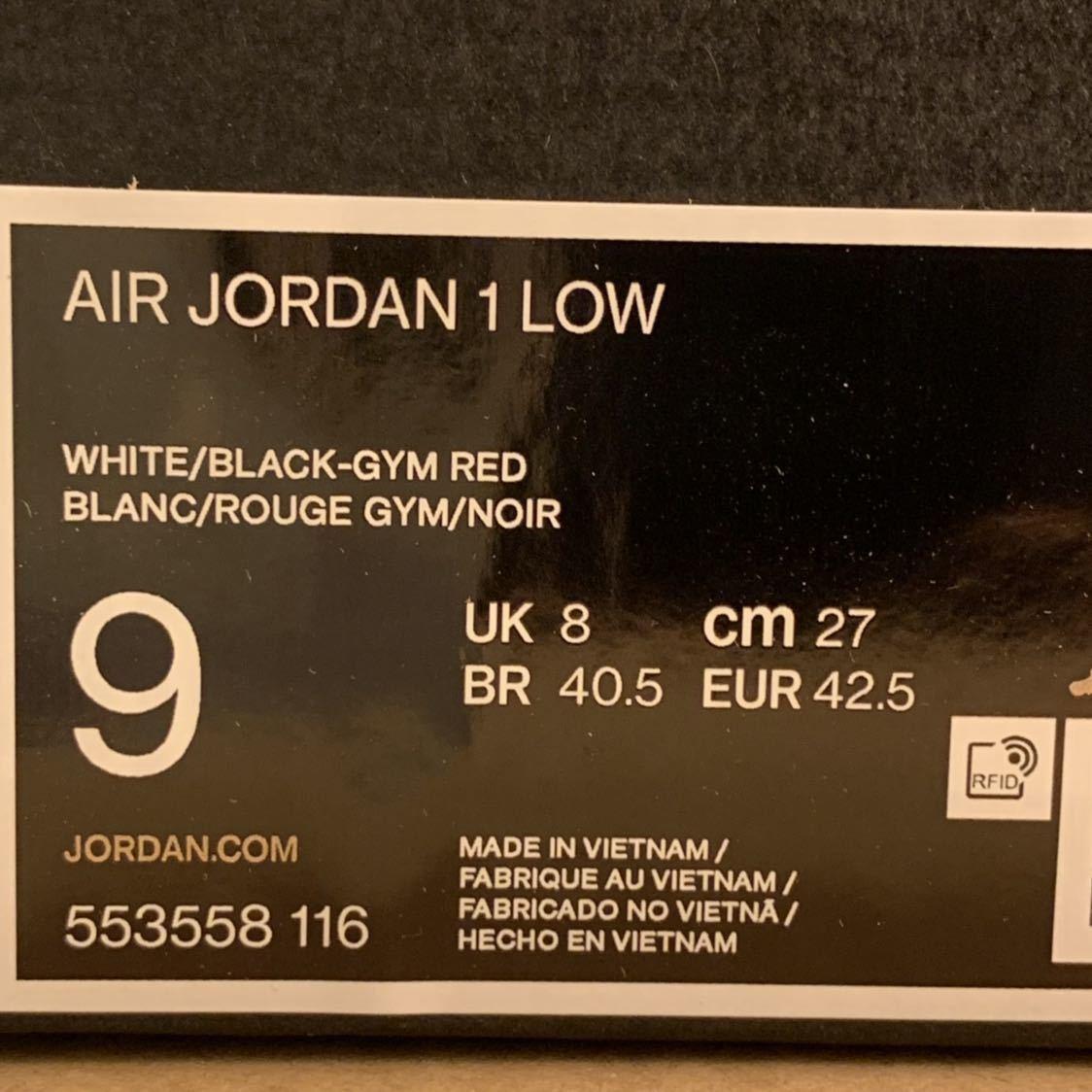 新品未使用NIKE AIR JORDAN 1 LOW BLACK RED WHITE BLACK TOE us9つま黒 27cm ナイキ エアジョーダン ロー_画像2