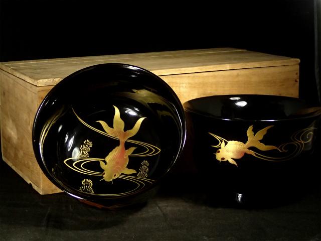 時代漆芸 黒漆本金蒔絵流水金魚図椀 盃洗 杯洗 一対