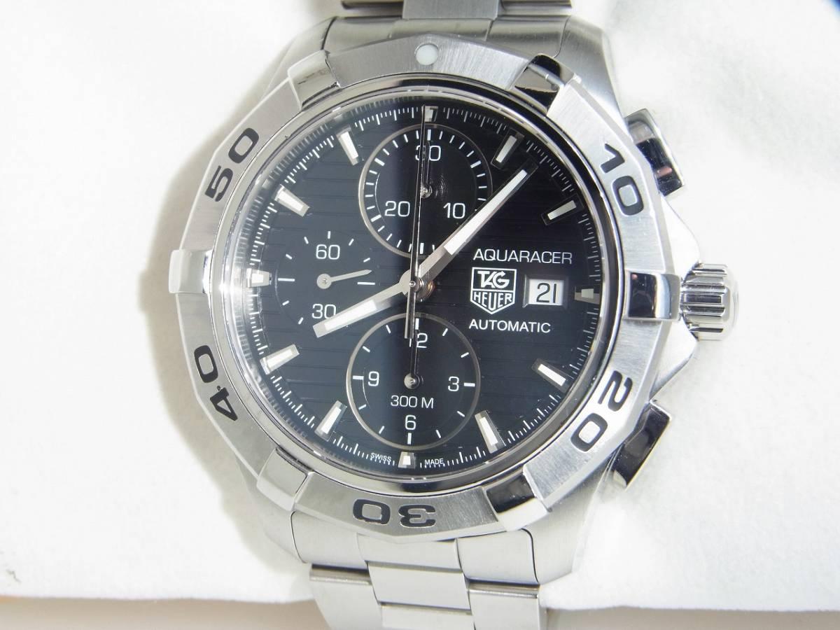 極美品 TAG HEUER タグホイヤー CAP2110 アクアレーサー クロノグラフ SS デイト 自動巻 メンズ 腕時計 キャリバー16 黒文字盤 稼働品   _画像1