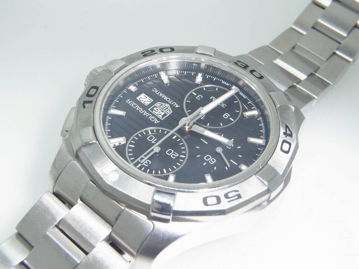 極美品 TAG HEUER タグホイヤー CAP2110 アクアレーサー クロノグラフ SS デイト 自動巻 メンズ 腕時計 キャリバー16 黒文字盤 稼働品   _画像7