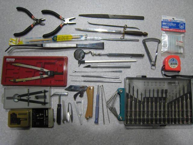 C67精密工具セット★ウチダコンパス、ピンセット、ミニハンマー、ヘラ、ドライバーなどまとめて