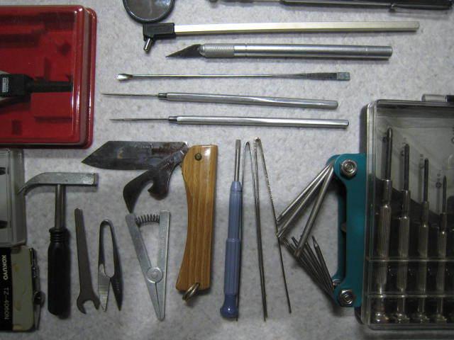 C67精密工具セット★ウチダコンパス、ピンセット、ミニハンマー、ヘラ、ドライバーなどまとめて_画像6