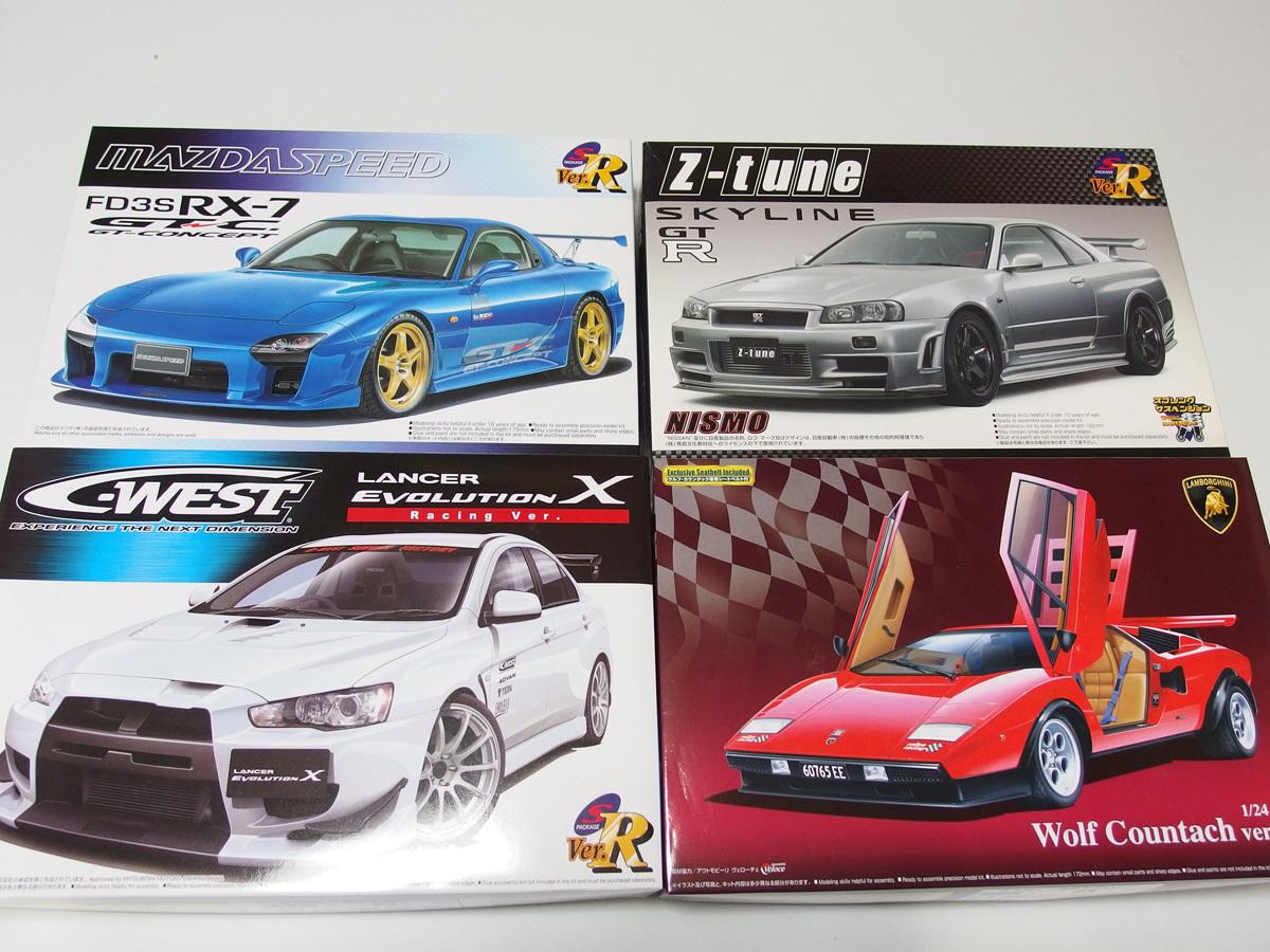 アオシマ 1/24 マツダスピードRX-7 GT-C R34 GT-R Z-tune C-WEST ランサーエヴォリューションⅩ ウルフカウンタック LP500 4点セット