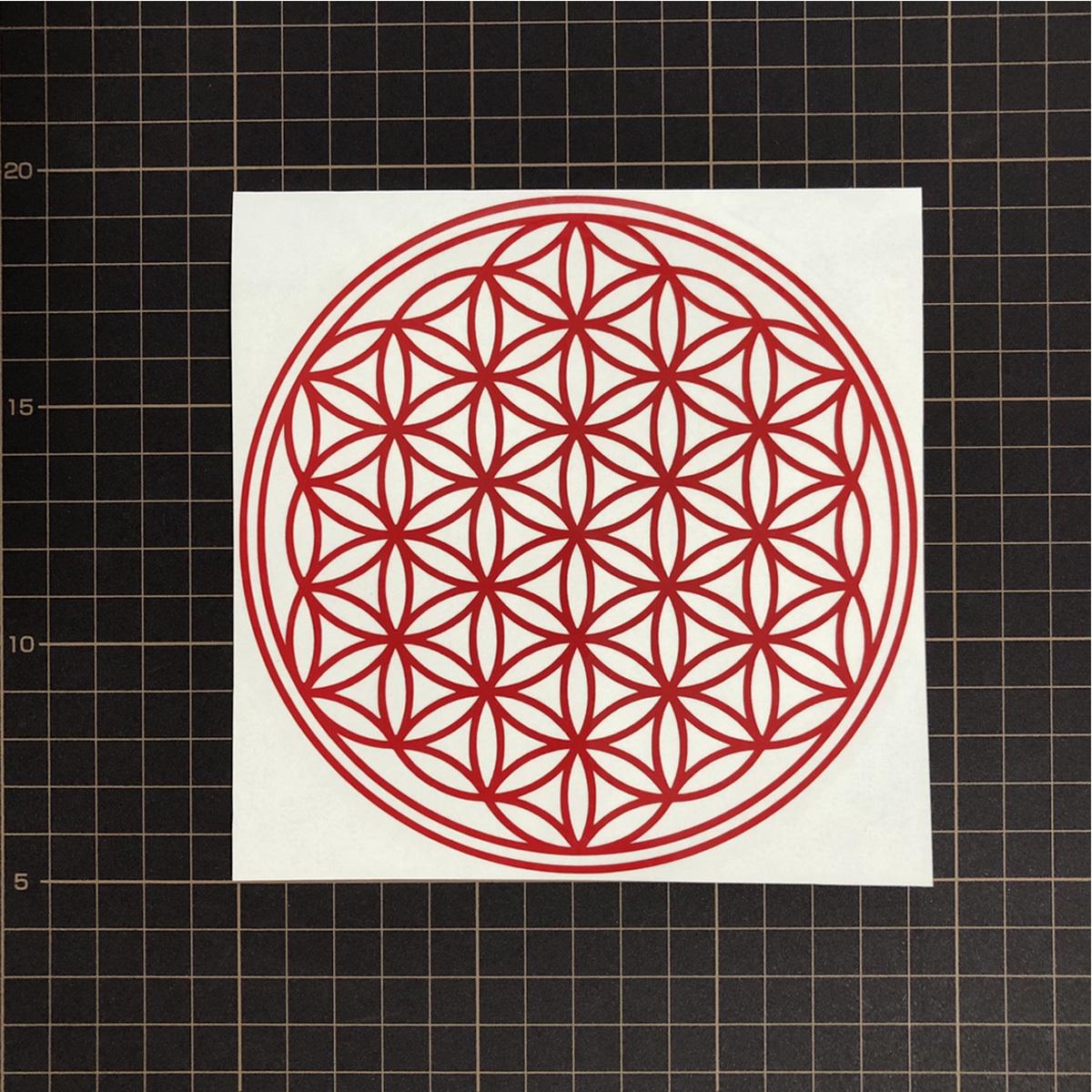 ●フラワーオブライフ 幾何学模様 「生命の花」運気向上 開運ステッカー 10色から選べる 701_画像3