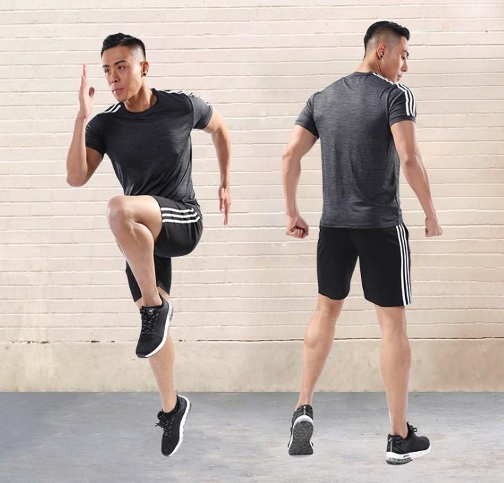 コンプレッションウェア メンズ 半袖 シャツ ハーフパンツ 上下 2点セット 軽量 通気 スポーツウェア ダークグレー L_画像1