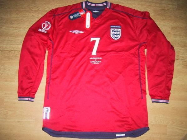 02W杯 イングランド(A)#7 ベッカム BECKHAM 長袖 UMBRO正規 2002WC組み予選 対アルゼンチン戦仕様 L