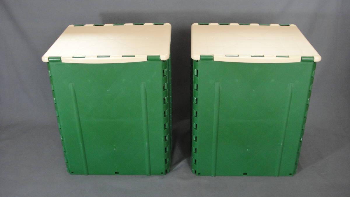 送料無料 座れる.運べる.ボックスチェア 緑色2個セット (収納 折り畳み イス コンパクト レジャー アウトドア キャンプ リビング コンテナ)
