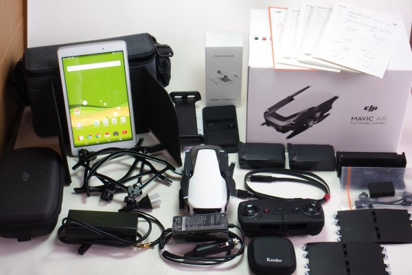 DJI MAVIC AIR FlyMoreCombo 8インチタブレット NDフィルター他おまけ付 コンパクト430gドローン 4K撮影 3軸ジンバル GPS 送料無料