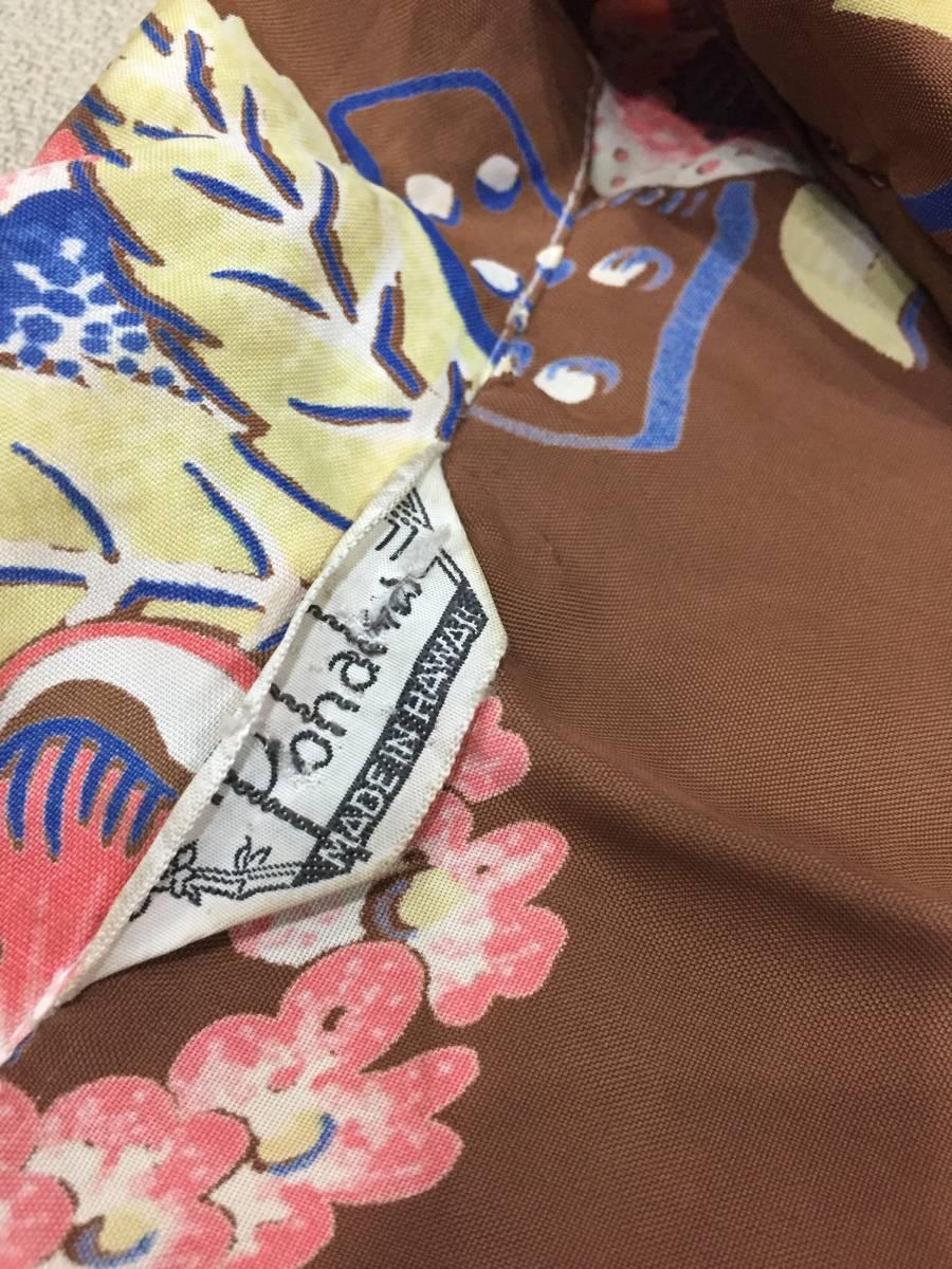激レア★50's★ハワイ産★ヴィンテージ★メニュー柄★ウクレレ★フランク マッキントッシュ★pohaku★ハワイアンシャツ★茶_画像5