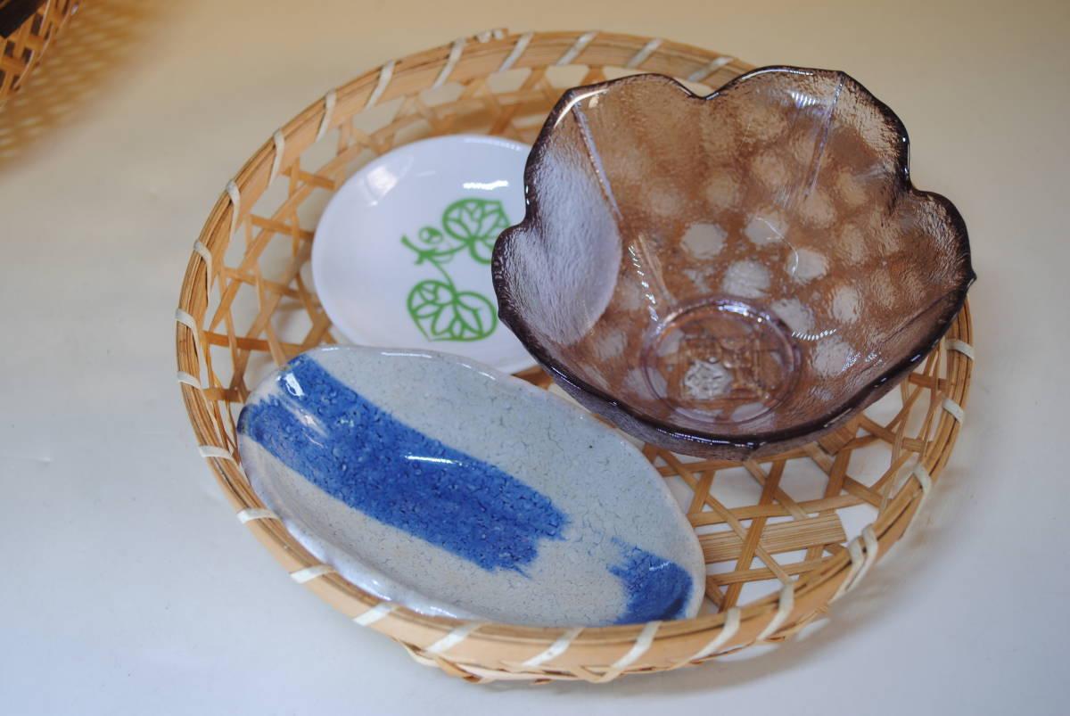 M39 小鉢セット ザル付 11点セット ガラス鉢 美濃焼 作山窯 薬味 ざるそば おばんざい 涼しげ 食器 小皿 送料無料 詳細写真複数あり_画像7